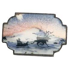 Ivar T. Holth Oslo Norway Sterling Silver Enamel Reindeer and Sleigh Brooch/Pin
