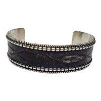 Navajo Celina Yazzie Sterling Silver Dark Purple Enamel Cuff Bracelet