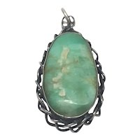 JM Sterling Silver Green Turquoise Pendant