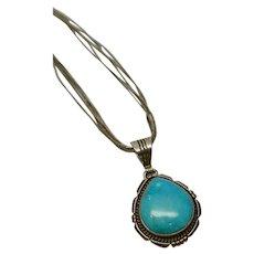 Ted Etsitty Navajo Turquoise Pendant On Liquid Silver Multi-Strand Necklace