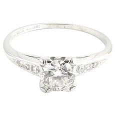 Vintage Platinum and Diamond Engagement Ring Size 6.75
