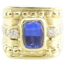 GAI Certified Vintage 18 Karat Yellow Gold Tanzanite and Diamond Ring Size 6