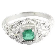 Vintage 18 Karat White Gold Emerald and Diamond Ring Size 5.5