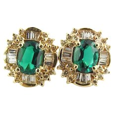 Vintage 14 Karat Yellow Gold Simulated Emerald and Diamond Earrings