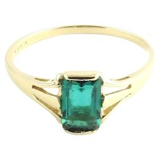 Vintage 14 Karat Yellow Gold Simulated Emerald Ring Size 5