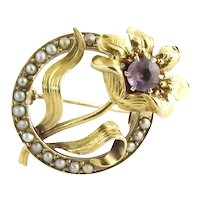 Vintage 10 Karat Yellow Gold Amethyst and Seed Pearl Brooch/Pin