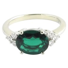 Vintage 14 Karat White Gold Simulated Emerald and Diamond Ring SIze 8