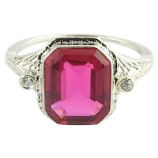 Vintage 14 Karat White Gold Simulated Ruby and Diamond Ring Size 7.75