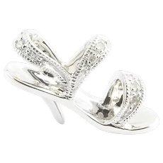 Vintage 10 Karat White Gold and Diamond High-Heeled Sandal Charm