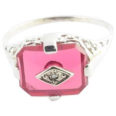 Vintage 10 Karat White Gold Synthetic Ruby and Diamond Ring Size 7.75
