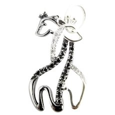 Vintage 10 Karat White Gold Black and White Diamond Giraffe Charm