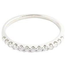 Vintage 14 Karat White Gold Diamond Wedding Band Size 8