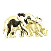 Vintage 18 Karat Yellow Gold Mother and Baby Elephant Pendant