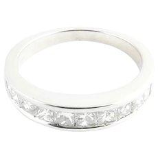 Vintage 14 Karat White Gold Princess Cut Diamond Wedding Band Size 7