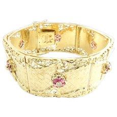 Vintage 18 Karat Yellow Gold Ruby and Diamond Bracelet