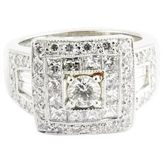 Vintage 18 Karat White Gold and Diamond Ring Size 6