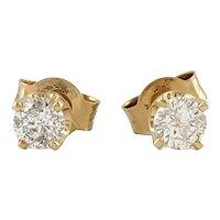 Vintage 14 Karat Yellow Gold Diamond Stud Earrings .29 ct. twt.