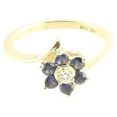 Vintage 14 Karat Yellow Gold Sapphire and Diamond Ring Size 3.75