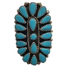 Native American Sterling Silver Petit Point Turquoise Ring, Size 8.5