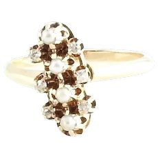 Antique 14 Karat Yellow Gold Diamond and Seed Pearl Ring Size 6