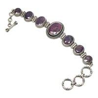 Samuel J Benham BJC Sterling Silver Purple Amethyst Toggle Bracelet