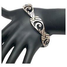 Taxco Mexico JJ Eagle 3 Cut Out Design Sterling Silver Oxidized Link Bracelet