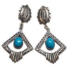 Native American Navajo Randall Tom Sterling Silver Turquoise Dangle Earrings