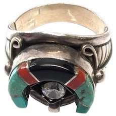 Navajo Wilber Yazzie Sterling Silver Horseshoe Ring with CZ, Size 11 3/4