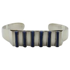Taxco Mexico Sterling Silver Lapis Lazuli Cuff Bracelet