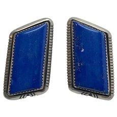 Native American W. G. Johnson Sterling Silver Lapis Lazuli Earrings