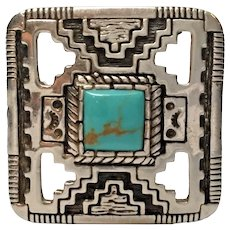 Southwestern Carol Felley 88 Sterling Silver Square Turquoise Pin Brooch