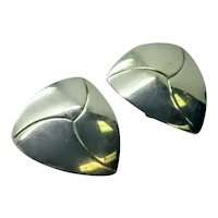 Artie Yellowhorse Navajo Sterling Silver Triangle Shaped Earrings