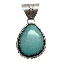 Native American Navajo B. Piaso Jr. Sterling Silver Turquoise Pendant
