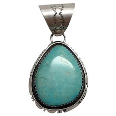 Native American Navajo B. Piaso Jr. Sterling Silver Turquoise Pendant
