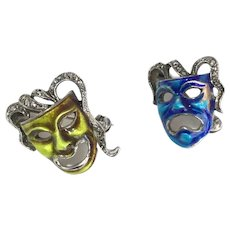 Vintage Sterling Silver Blue and Green Enamel Marcasite Comedy/Tragedy Mask Pins
