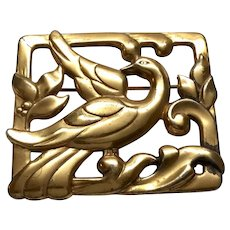 Vintage Coro Sterling Silver Gold Plated Square Dove Pin