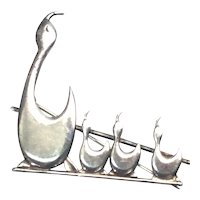 Brammer Sterling Silver Mother Duck and Ducklings Pin/Brooch Denmark