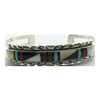 Native American RLK Sterling Silver Coral, MOP, Onyx & Turquoise Cuff Bracelet