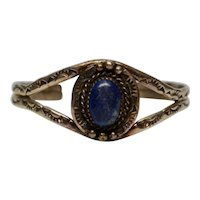 Native American Diné Begaye Sterling Silver Lapis Cuff