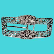 Vintage Shreve Crump & Low Sterling Silver Large Belt Buckle