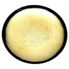Vintage Towle Sterling Silver Etched Yellow and Black Enamel Tazza Footed Plate by Earl Pardon