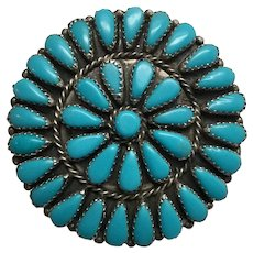 Native American Sterling Silver Petit Point Turquoise Pendant By GAB