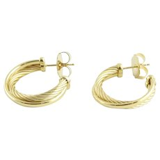 David Yurman 18K Yellow Gold Cable Crossover Open Hoop Earrings