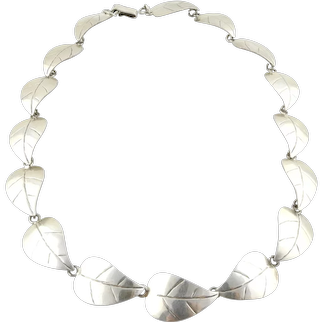 Taxco Mexico TJ 49 Sterling Silver Leaf Necklace