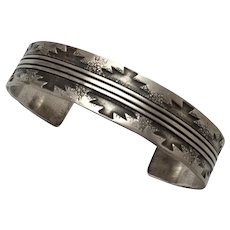 Norman Bia Native American Silver Stamped Cuff Bracelet