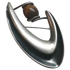 Taxco Vintage Sigi Pineda Sterling Silver Tigers Eye Boomerang Pin Brooch 84