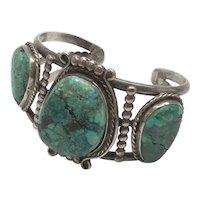 Native American Signed EGM BGM Silver Turquoise Cuff Bracelet