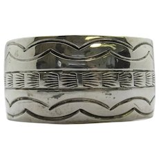 Native American Sterling Silver Stamped Textured Cuff Bracelet