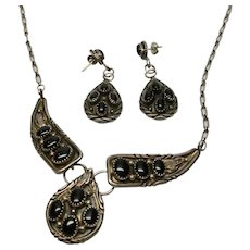 Navajo Handmade Sterling Silver Necklace and Earrings Set