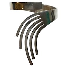 Taxco Mexico Sterling Silver Fingers Clamper Bracelet By MSR, Eagle 3